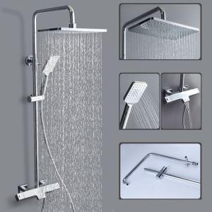 浴室シャワー水栓 シャワーシステム サーモスタット式混合栓 ヘッドシャワー+ハンドシャワー+蛇口 バス水栓