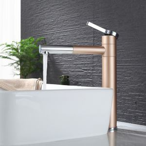 洗面蛇口 バス水栓 冷熱混合栓 水道蛇口 吐水口回転 シャンパー色 H32cm