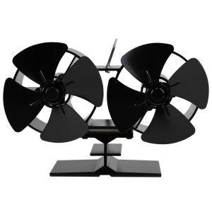 デュアルヘッドストーブファン 暖炉ファン ヒートパワー 低騒音 静音 電源不要 空気循環