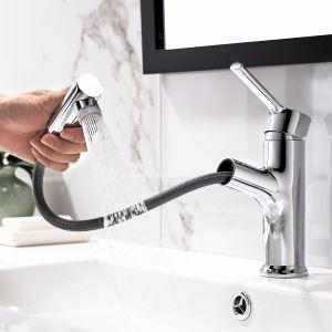 洗面蛇口 スプレー混合栓 引出式水栓 洗面器用 整流&シャワー吐水式 2色 H20cm