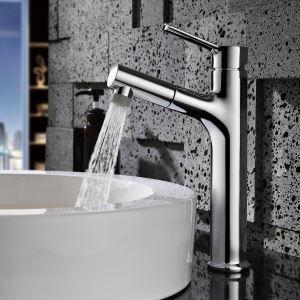 洗面蛇口 スプレー混合栓 引出式水栓 洗面器用 整流&シャワー吐水式 2色 H30cm