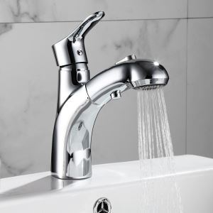 洗面蛇口 スプレー混合栓 引出式水栓 洗面器用 整流&シャワー吐水式 2色