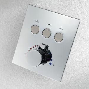 サーモシャワーバルブ 埋込形バルブ スイッチ部品 シャワー水栓用 3機能 黒色/クロム