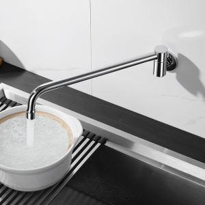壁付水栓 キッチン蛇口 台所蛇口 単水栓 水道蛇口 回転可能 真鍮 4色