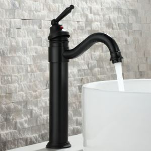 洗面蛇口 バス水栓 冷熱混合栓 水道蛇口 水栓金具 真鍮 黒色 H34cm