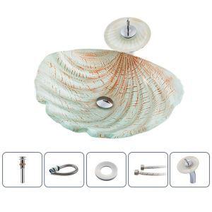 洗面ボウル&蛇口セット 洗面器 手洗鉢 強化ガラス製 排水金具付 シェル型 BWY162