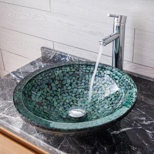 洗面ボール 洗面器 手洗鉢 強化ガラス製 蛇口&排水金具付 石柄 BWY173