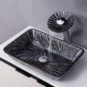 洗面ボウル&蛇口セット 洗面器 手洗鉢 強化ガラス製 排水金具付 長方形 渦柄 BWY189