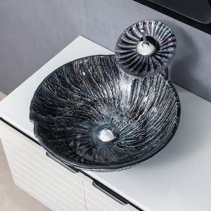 洗面ボウル&蛇口セット 洗面器 手洗鉢 強化ガラス製 排水金具付 丸型 渦柄 BWY190