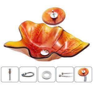 洗面ボウル&蛇口セット 洗面器 手洗鉢 強化ガラス製 排水金具付 葉型 BWY1673