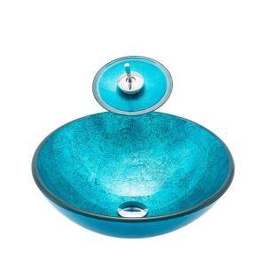 洗面ボウル&蛇口セット 洗面器 手洗鉢 強化ガラス製 排水金具付 丸型 BW10168