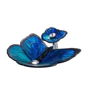 洗面ボウル&蛇口セット 洗面器 手洗鉢 強化ガラス製 排水金具付 蝶型 青色