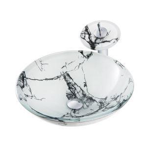 洗面ボウル&蛇口セット 洗面器 手洗鉢 強化ガラス製 排水金具付 大理石柄 白色 BWY226