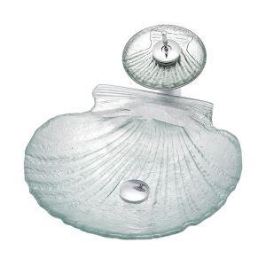 洗面ボウル&蛇口セット 洗面器 手洗鉢 強化ガラス製 排水金具付 シェル型