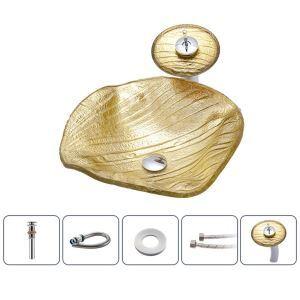 洗面ボウル&蛇口セット 洗面器 手洗鉢 強化ガラス製 排水金具付 水波型 金色