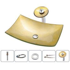 洗面ボウル&蛇口セット 洗面器 手洗鉢 ガラス製 排水金具付 船型 BWY108