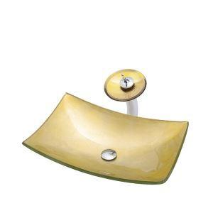 洗面ボウル&蛇口セット 洗面器 手洗鉢 強化ガラス製 排水金具付 船型 BWY108