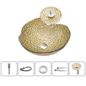 洗面ボウル&蛇口セット 洗面器 手洗鉢 ガラス製 排水金具付 不規則型 BWY111