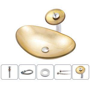 洗面ボウル&蛇口セット 洗面器 手洗鉢 ガラス製 排水金具付 元宝型 BWY106