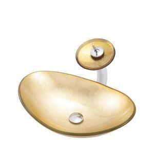 洗面ボウル&蛇口セット 洗面器 手洗鉢 強化ガラス製 排水金具付 元宝型 BWY106