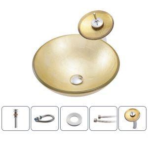 洗面ボウル&蛇口セット 洗面器 手洗鉢 ガラス製 排水金具付 丸型 BWY109