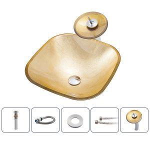 洗面ボウル&蛇口セット 洗面器 手洗鉢 ガラス製 排水金具付 方形 BWY105