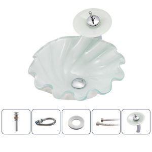 洗面ボウル&蛇口セット 洗面器 手洗鉢 ガラス製 排水金具付 渦型 BWY118