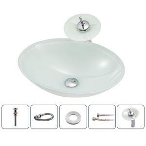 洗面ボウル&蛇口セット 洗面器 手洗鉢 ガラス製 排水金具付 楕円形 BWY117