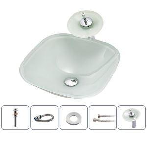 洗面ボウル&蛇口セット 洗面器 手洗鉢 ガラス製 排水金具付 方形 BWY114
