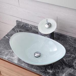 洗面ボウル&蛇口セット 洗面器 手洗鉢 強化ガラス製 排水金具付 元宝型 BWY119