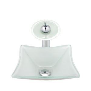 洗面ボウル&蛇口セット 洗面器 手洗鉢 強化ガラス製 排水金具付 方形 BWY120