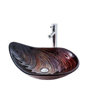洗面ボール 洗面器 手洗鉢 強化ガラス製 蛇口&排水金具付 葉型 BWY192