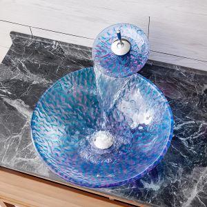 洗面ボウル&蛇口セット 洗面器 手洗鉢 強化ガラス製 排水金具付 波柄 BWY146