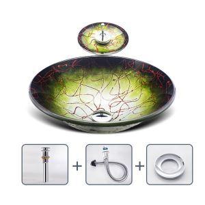 洗面ボウル&蛇口セット 洗面器 手洗鉢 ガラス製 排水金具付 丸型 BWY14158