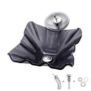 洗面ボウル&蛇口セット 洗面器 手洗鉢 ガラス製 排水金具付 不規則型 灰色 BWY076
