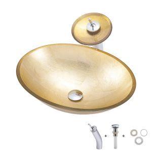 洗面ボウル&蛇口セット 洗面器 手洗鉢 ガラス製 排水金具付 楕円形 金色 BWY107