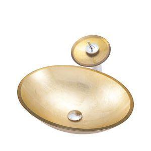 洗面ボウル&蛇口セット 洗面器 手洗鉢 強化ガラス製 排水金具付 楕円形 金色 BWY107