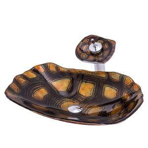 洗面ボウル&蛇口セット 洗面器 手洗鉢 ガラス製 排水金具付 亀型 BWY198