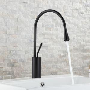 洗面水栓 バス蛇口 冷熱混合栓 立水栓 水道蛇口 水栓金具 雫型 黒色/白色/金色 H38cm