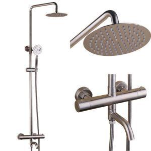 浴室シャワー水栓 シャワーシステム サーモスタット付 シャワーヘッド+ハンドシャワー+蛇口 ヘアライン