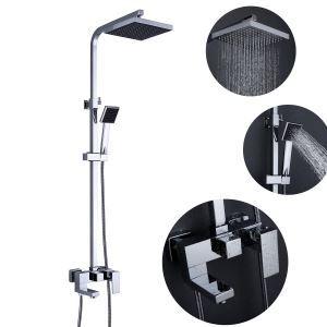 浴室シャワー混合栓 シャワーシステム ヘッドシャワー+ハンドシャワー+回転蛇口 バス水栓 クロム