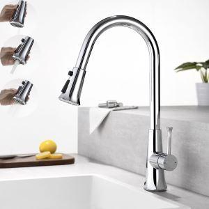 キッチン水栓 台所蛇口 引出し式水栓 冷熱混合栓 整流&シャワー&スプレー吐水式 回転 3色