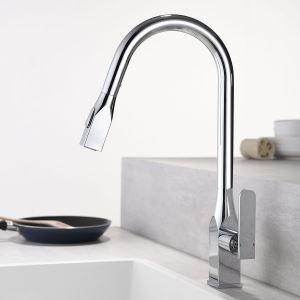 キッチン水栓 台所蛇口 引出し式水栓 冷熱混合栓 整流&シャワー吐水式 回転 4色