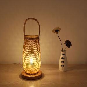 テーブルランプ スタンドライト 間接照明 卓上照明 デスクライト リビング 寝室 竹 手作り編み 和風 1灯 2326