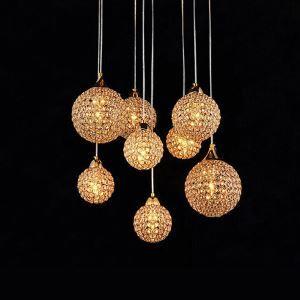 ペンダントライト クリスタル付照明 天井照明 球型照明 8灯