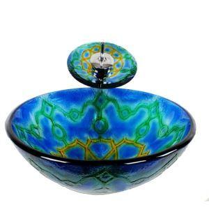 洗面ボウル&蛇口セット 手洗い鉢 洗面器 強化ガラス製 排水金具付 オシャレ ハート柄 HAM021