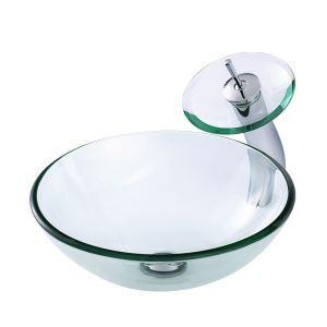 透明洗面ボウル&蛇口セット 手洗い鉢 洗面器 強化ガラス製 排水金具付 VT4012