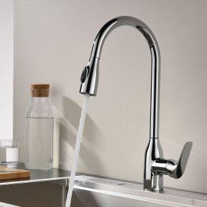 キッチン水栓 台所蛇口 引出し式水栓 冷熱混合栓 整流&シャワー吐水式 クロム