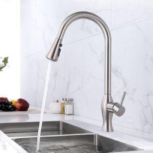 キッチン水栓 台所蛇口 引出し式水栓 冷熱混合栓 整流&シャワー吐水式 ステンレス鋼 ヘアライン