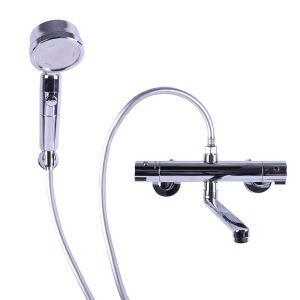 浴室シャワー水栓 壁付サーモスタット混合栓 バス水栓 蛇口付き クロム